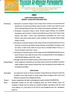 Lembar 1 Surat Berlepas Diri Yayasan Ar-Royyan Purwokerto dari Majelis Ta'lim As-Sunnah Karang Lewas