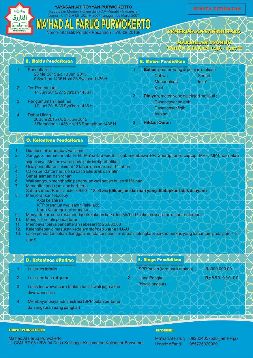 Pendaftaran Santri Baru Marhalah Lughoh Al Faruq